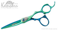 Kenchii Peacock™ 5.5-inch cobalt scissor in blue and green titanium.