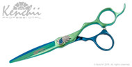 Kenchii Peacock™ 6.0-inch cobalt scissor in blue and green titanium.
