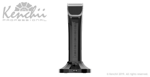 Kenchii Flash™ Pet Grooming Clipper in pearl white with gun metal accents, controls view.