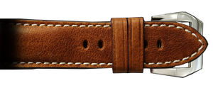 RIOS1931 26x22 Classic Distressed Brown Genuine Vintage Leather Watch Strap for Panerai Radiomir Watches | Paneraibands.com