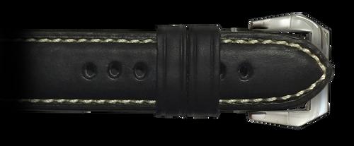 26x22 RIOS1931 Black Firenze Genuine Leather Watch Strap to fit Panerai Radiomir   Paneraibands.com