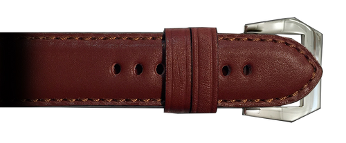 RIOS1931 22x22 Mahogany Milano Genuine Leather Watch Strap for Panerai Watches   Paneraibands.com