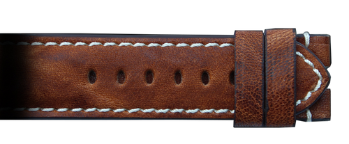 RIOS1931 22x20mm Burnt Chestnut Genuine Distressed Vintage Leather Watch Strap with White Stitching for Panerai Deploy | Paneraibands.com