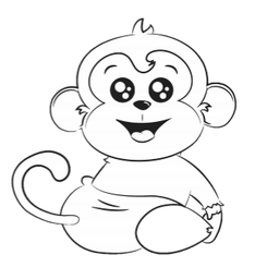 Max Monkey Coloring Book Page