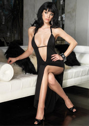 Dress Long Deep V Black Md/lg