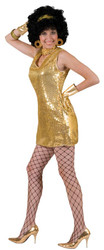 Disco Dress Gold Adult Large