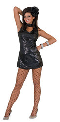Disco Dress Adult Black Medium