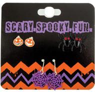 Earrings 3pk Spider Pumpkin We