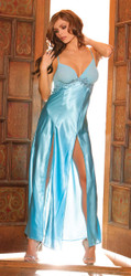 Gown With Front Slits Blue