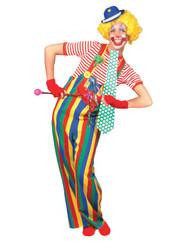 Striped Clown Overalls Ad Lg