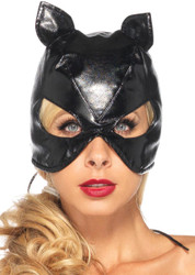 Cat Mask Faux Leather Black