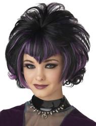 Wig Goth Flip Black Purple