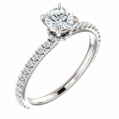 Moissanite and Diamond Platinum Ring