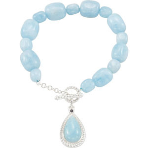 Sky Blue Aquamarine bead bracelet, March Birthstone Jewelry.