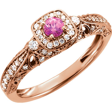 Pink Sapphire and Diamond Rose Gold Ring