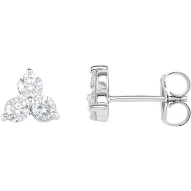 3 Stone Stud Earrings