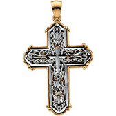 14k Two Tone Gold Reversible Cross Pendant