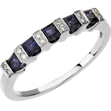 Blue Sapphire and Diamond Anniversary Band