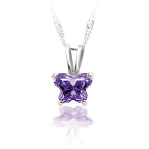 Childrens February Birthstone Cubic Zirconia Necklace