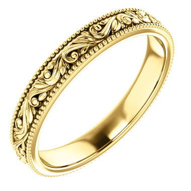 14k yellow gold scroll wedding band