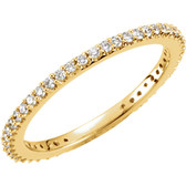 Size 7 - 14K Yellow 1/3 CTW Diamond Wedding Band or Stackable Ring
