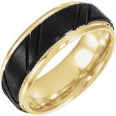 18k Yellow Gold Plated Tungsten Grooved Band with Black PVD 8mm Wide