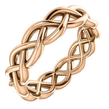 14k Rose Gold Woven Wedding Band