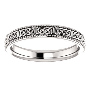 14kt White Gold Celtic Inspired Wedding Band