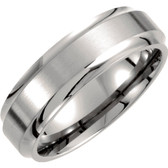Men's Titanium 7 mm Wide Ridged Wedding Band