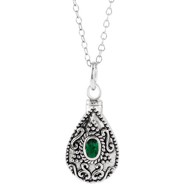 """May Birthstone Memorial Tear Ash Holder 18"""" Necklace"""