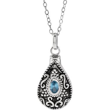 "December Birthstone Memorial Tear Ash Holder 18"" Necklace Sterling Silver"
