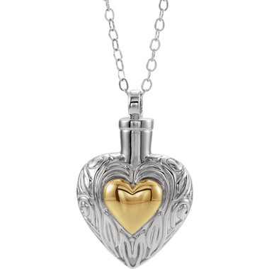 Sterling Silver 14K Yellow Gold-Plated Memorial Heart Ash Holder