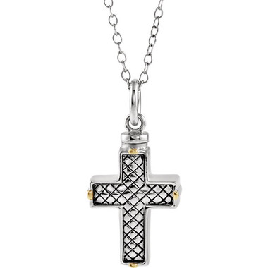 Sterling Silver Woven Cross Memorial Ash Holder