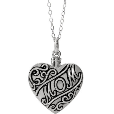 "Sterling Silver ""Mom"" Heart Shape Ash Holder"