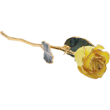 "Real 12"" Inch Lacquered Yellow Colored Rose"