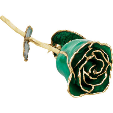 "Real 12"" Inch Lacquered Green Colored Rose"