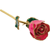 "Real 12"" Inch Lacquered Magenta Colored Rose"