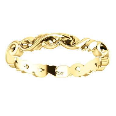 3.0mm 14K Yellow Gold Scroll Design Wedding Band