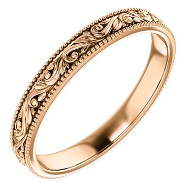 14k Rose Gold Engraved Scroll Design Wedding Band