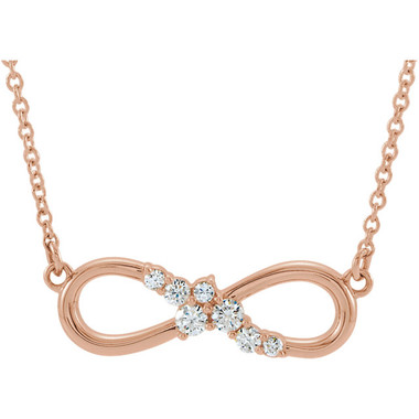 """14K Rose Gold 1/8 CTW Diamond Infinity-Inspired Bar 18"""" Inch Necklace"""