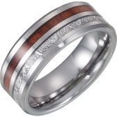 Men's Tungsten Comfort Fit Band with Imitation Meteorite & Wood Inlay