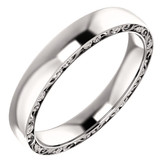 14kt White Gold 4 mm Sculptural-Inspired Relief Pattern Wedding Band