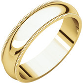 14kt Yellow Gold Wedding Band with Milgrain Edge