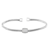 Barrel Cuff Bracelet with Simulated Diamonds