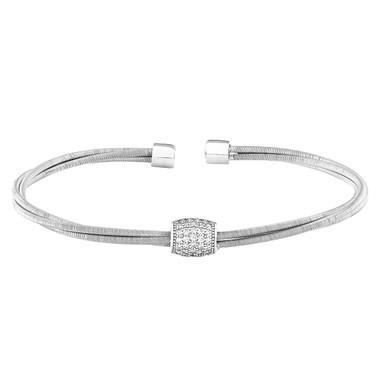 Barrel Cuff Bracelet with Simulated Diamonds