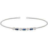 Simulated Diamond and Simulated Blue Sapphire Cuff Bracelet