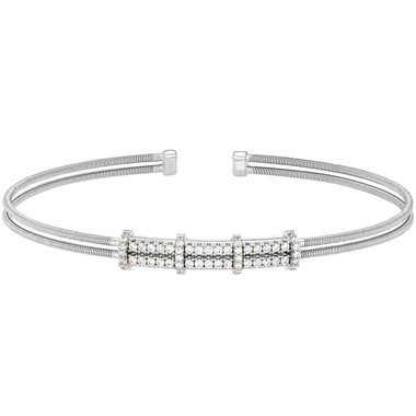 Double Simulated Diamond Cuff Bracelet