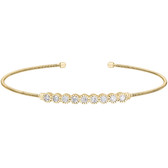 Yellow Gold Finish Simulated Diamond Cuff Bracelet