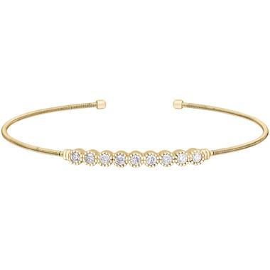 Yellow Gold Finish Simulated Diamond Cuff Bracelet