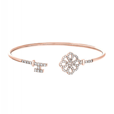 Rose Gold Finish over Sterling Silver Lock and Key Cuff Bracelet